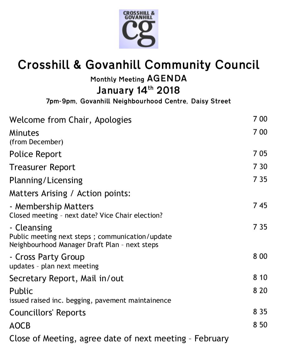 Monthly Meeting Jan 2019 – Crosshill & Govanhill Community